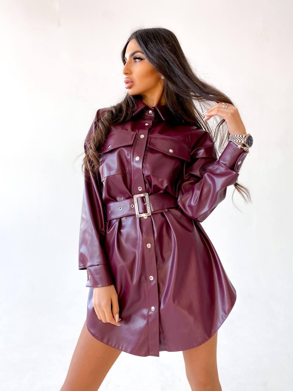 Трендовое  платье-рубашка на кнопках с широким поясом из экокожи Рremium purple flower
