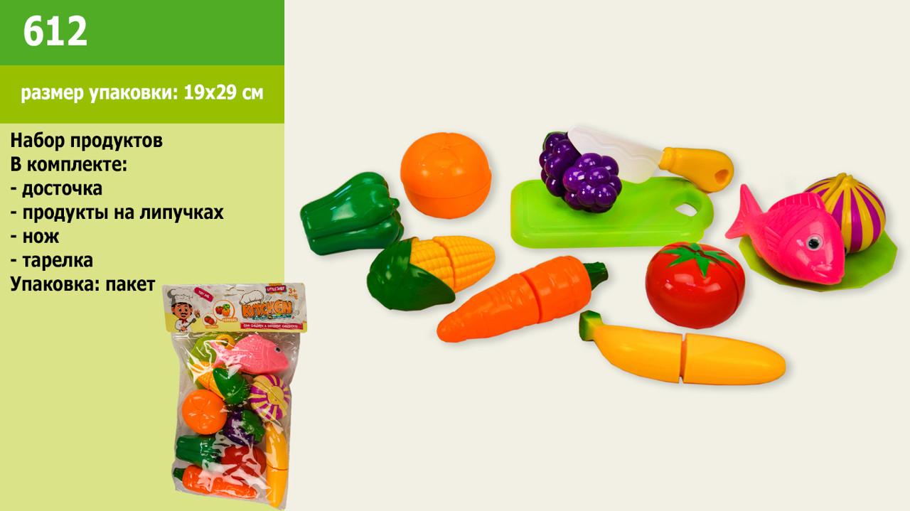 Набір продуктів на липучках дощечка тарілочка ніж у пакеті  612