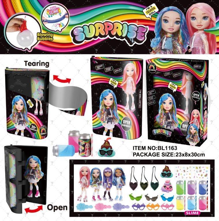 Лялька RAINBOW SURPRISE 17,5 см сюрпризи одяг прикраси аксуари у коробці  BL1163