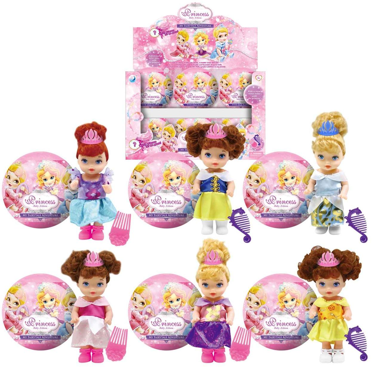 Лялька Принцеса Дійснею 6 видів у шарі з гребінцем по 12 шт у боксі  A325