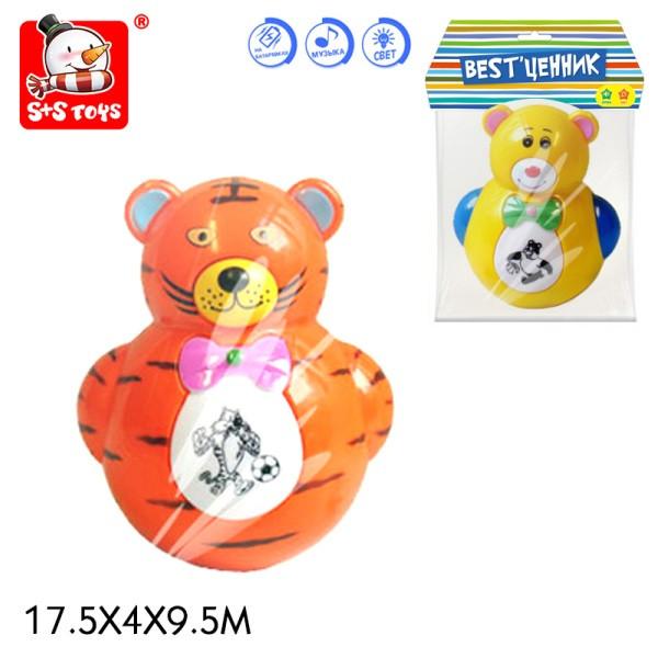 Неваляшка дитяча тигр ведмедик батарейкова музична світиться 2 види у кулькуSR6379
