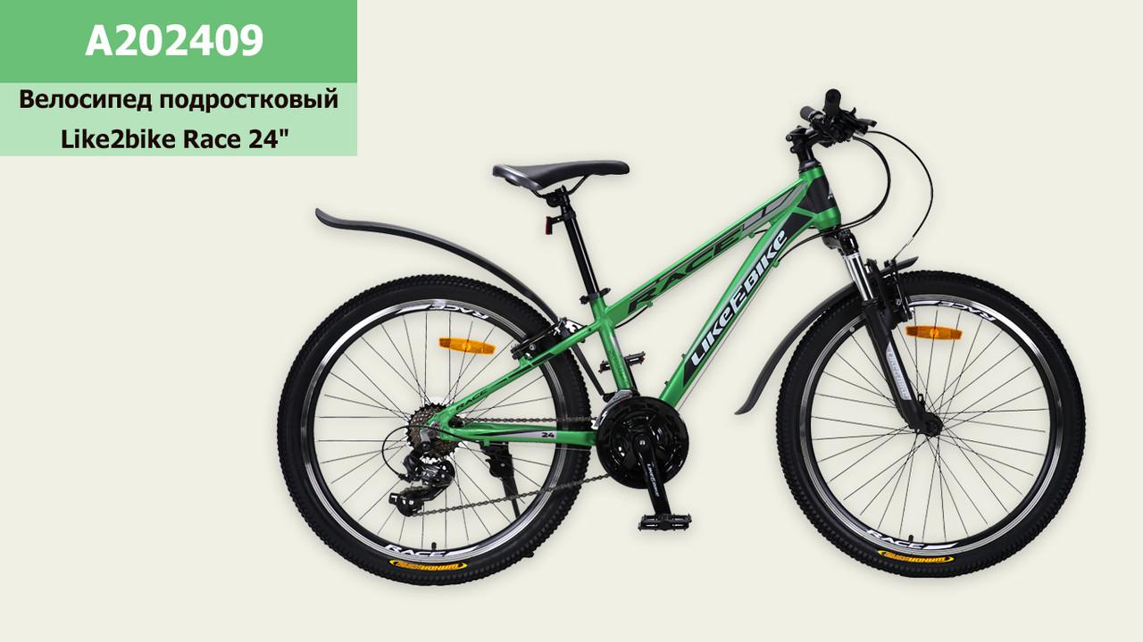 Велосипед Like2bike Race 2х колісний гірський 24''  зелений матовий рама  A202409