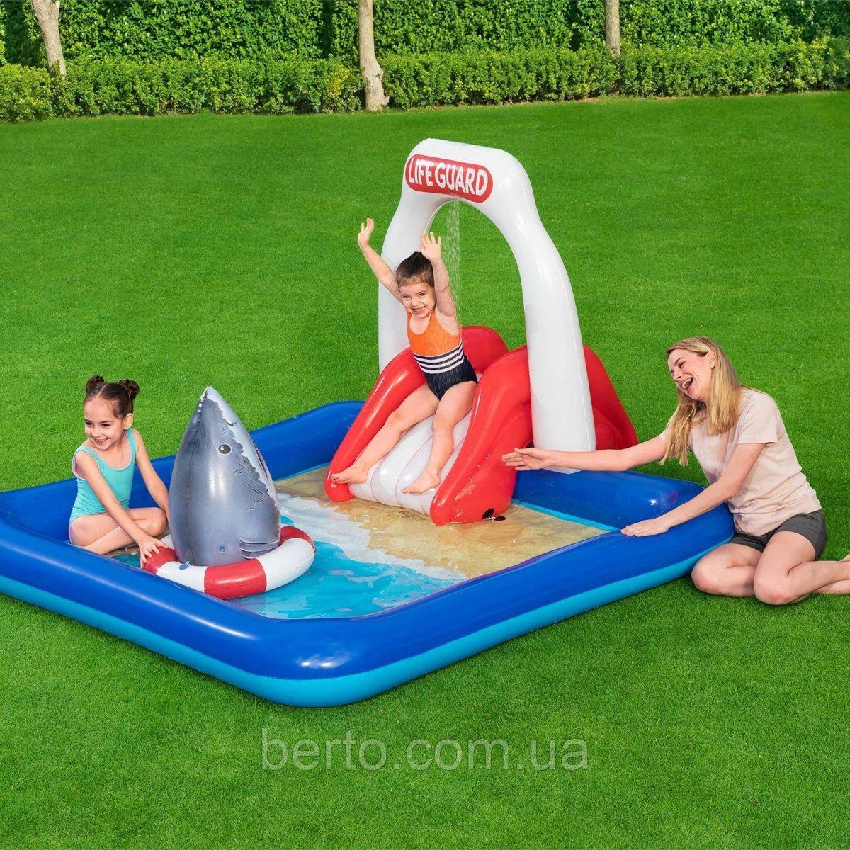 Детский надувной игровой бассейн с горкой 234*203 см, Intex 53079