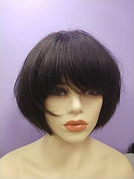 Натуральный парик черный имитация кожи головы боб каре