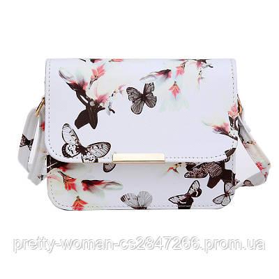 Сумка клатч женская белая Бабочки код 3-280