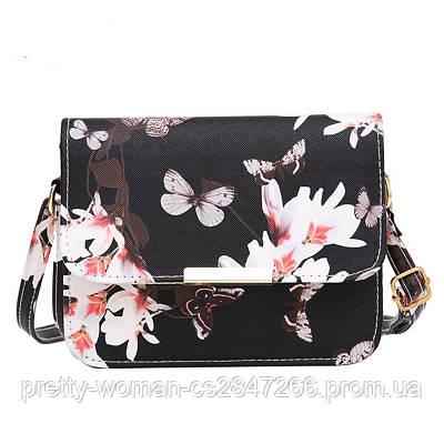 Сумка клатч женская черная Цветы код 3-280
