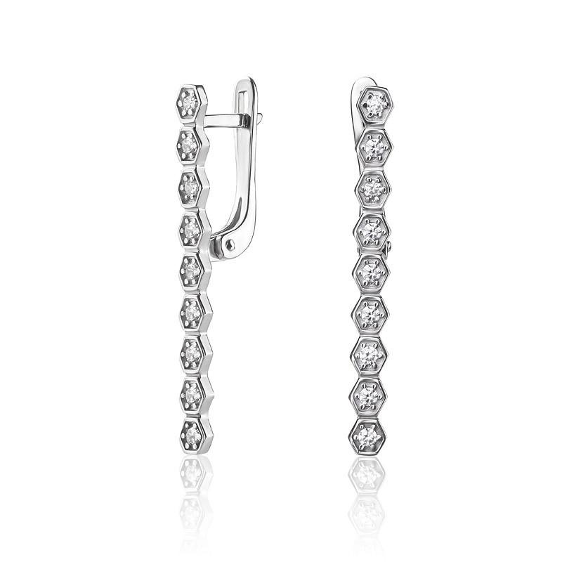 Серебряные серьги палочки с цирконом, серебро 925-я проба
