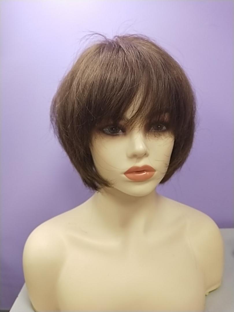 Натуральный парик русый имитация кожи головы боб каре