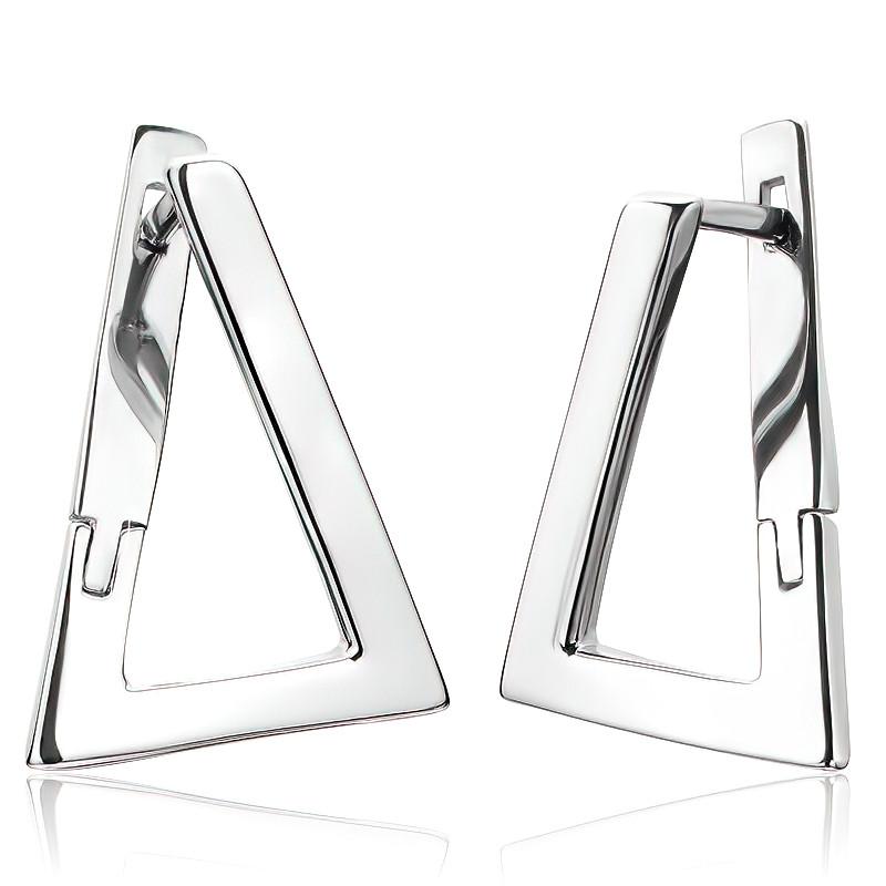 Серебряные серьги треугольники без камней