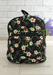 Рюкзак женский черный в цветочек код 7-940