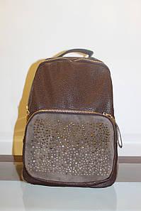 Женский коричневый рюкзак с камнями код 3-413