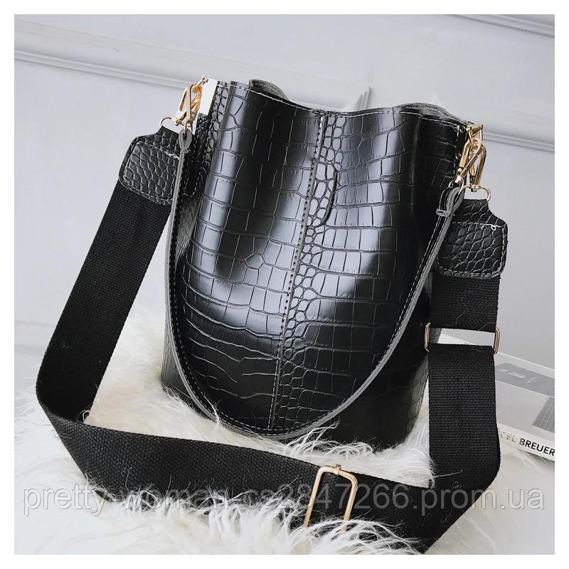 Женская черная сумка тиснение рептилия код 3-423 Уценка