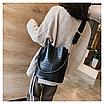 Женская черная сумка тиснение рептилия код 3-423 Уценка, фото 4