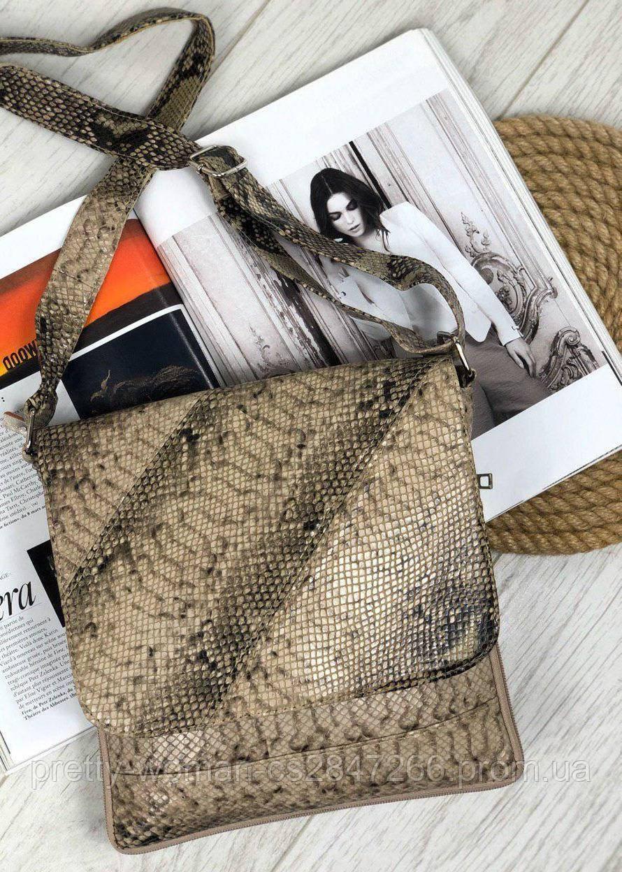Женская сумка тиснение под рептилию натуральная кожа код 22-2