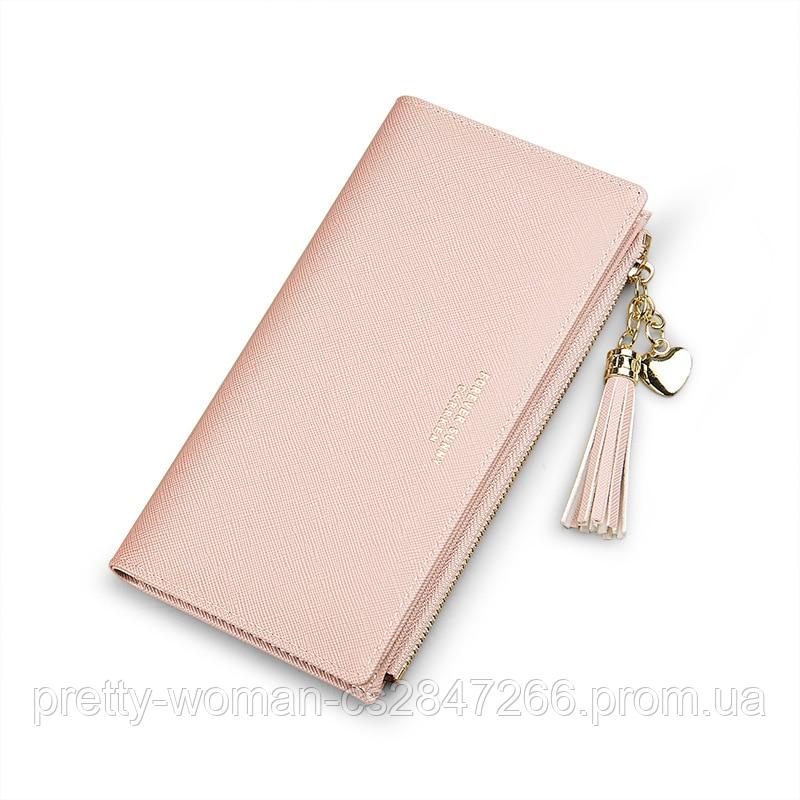 Жіночий рожевий гаманець з пензликом код 367