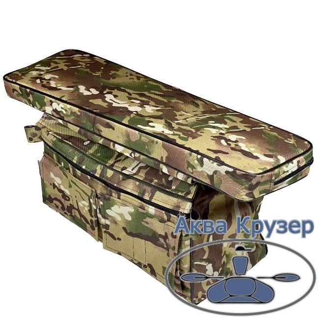 Мягкая накладка на сиденье 710х200х50 мм с сумкой рундуком в лодку ПВХ, цвет камуфляж