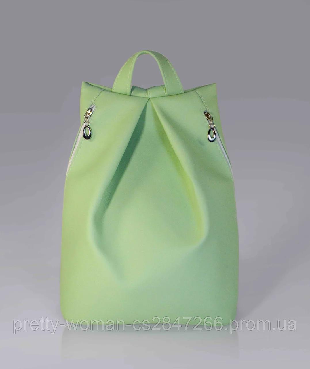 Стильный женский рюкзак мятного цвета код 9-25