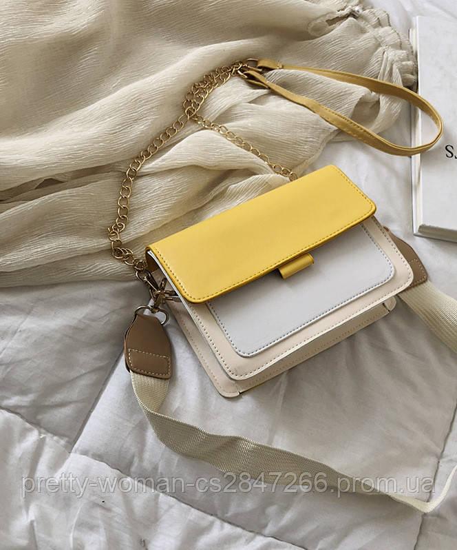 Сумка клатч женская желтая код 3-446