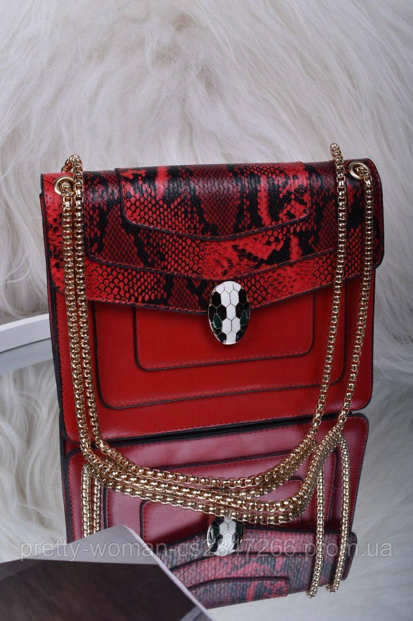 Красная женская сумка со вставкой рептилия код 7-1156