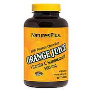 Витамин С, Orange Juice Vitamin C, 500 мг, Nature's Plus, 90 жевательных таблеток