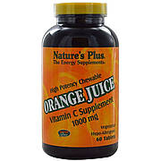 Витамин С, Orange Juice Vitamin C, 1000 мг, Nature's Plus, 60 жевательных таблеток
