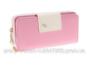 Кошелек женский розовый с бежевым код 127