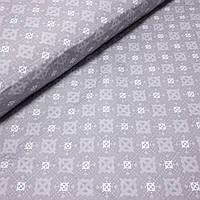 Бязь з сірим геометричним малюнком на сірому, ш. 220 см, фото 1