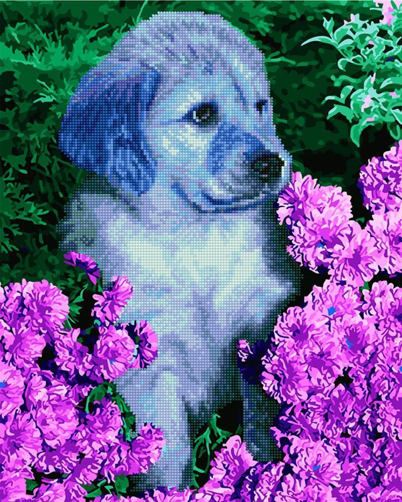 Щенок лабрадора в цветах