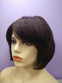 Натуральный парик  коричневый имитация кожи головы боб каре