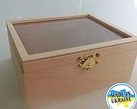 Шкатулка деревянная прямоугольная со стеклянной крышкой , заготовка для декупажа и росписи , 14*12*6,5см