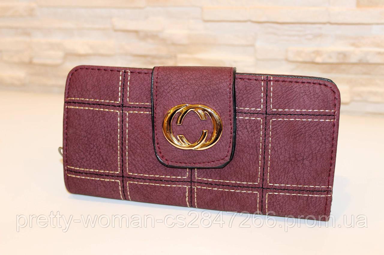 Місткий жіночий гаманець фіолетовий на блискавці код 284