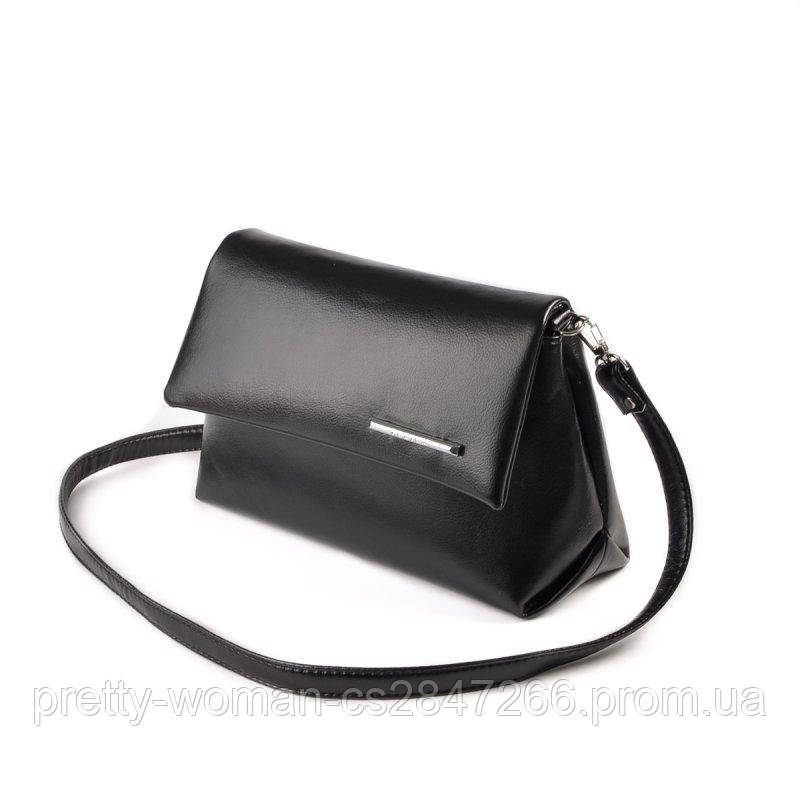 Невелика жіноча чорна сумка код 15-138