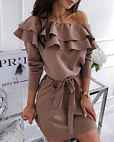 Изысканное коротенькое платье с пышными воланами, размеры: 42-44, 46-48, черный, марсала, капучино
