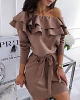 Вишукане коротеньке плаття з пишними воланами, розміри: 42-44, 46-48, чорний, марсала, капучіно