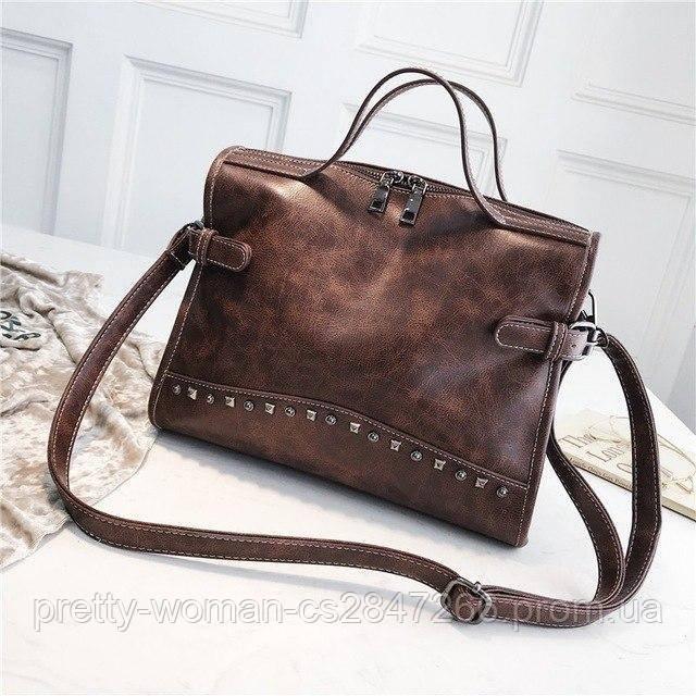 Женская коричневая сумка с длинным ремнем код 3-419