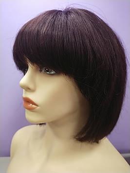 Натуральный парик коричневый имитация кожи головы каре с челкой