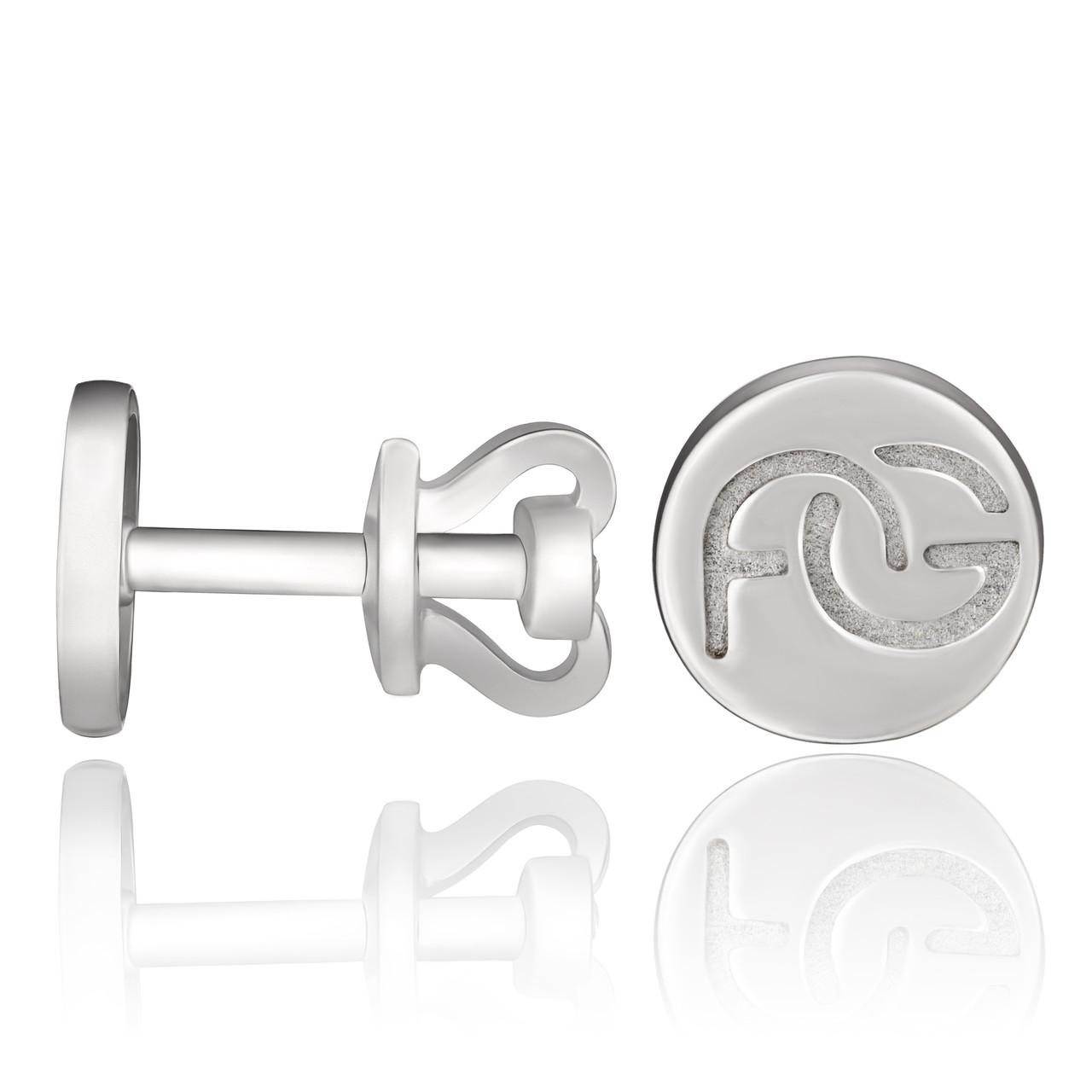 Серебряные серьги гвоздики круглые брендовые AG без камней