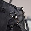 Женская черная вместительная сумка из искусственной кожи код 3-406, фото 3