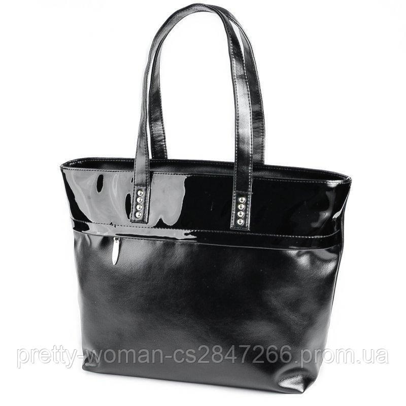 Вместительная женская черная сумка код 15-161