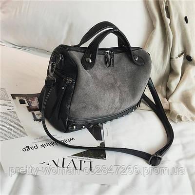 Черная женская сумка с серой вставкой  код 3-414