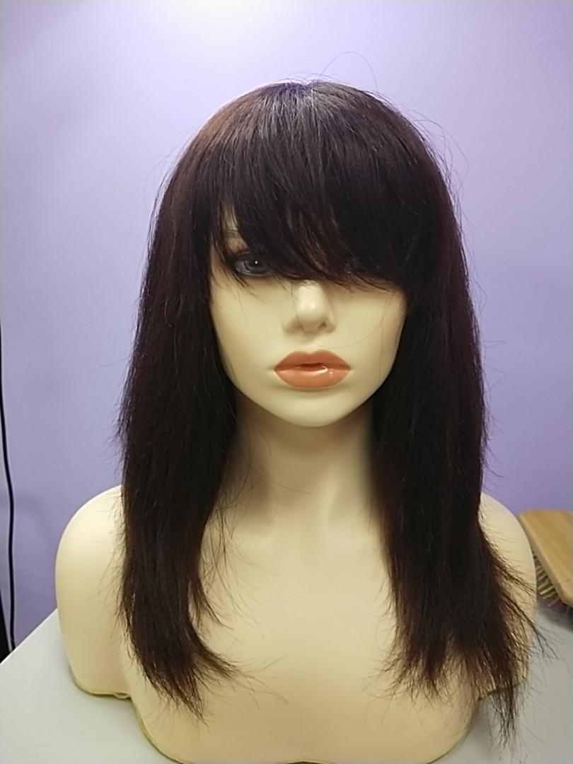 Натуральный парик темно коричневый имитация кожи длинные волосы с челкой моно сетка