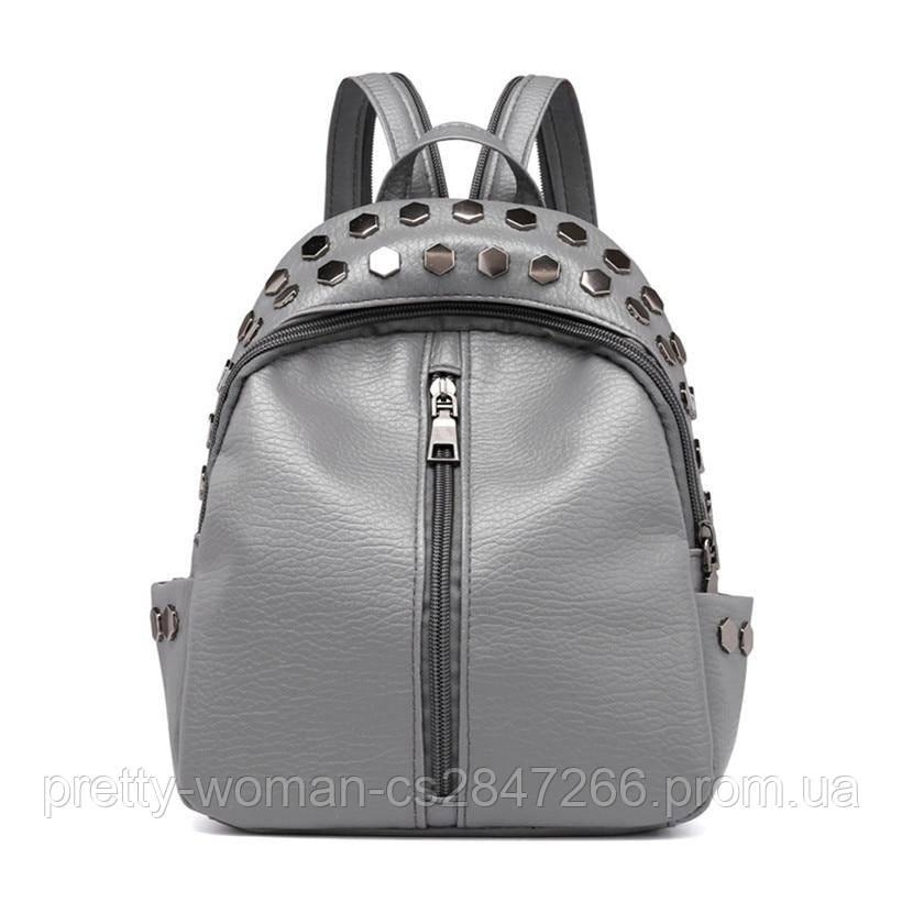 Рюкзак серый женский с заклепками код 3-268