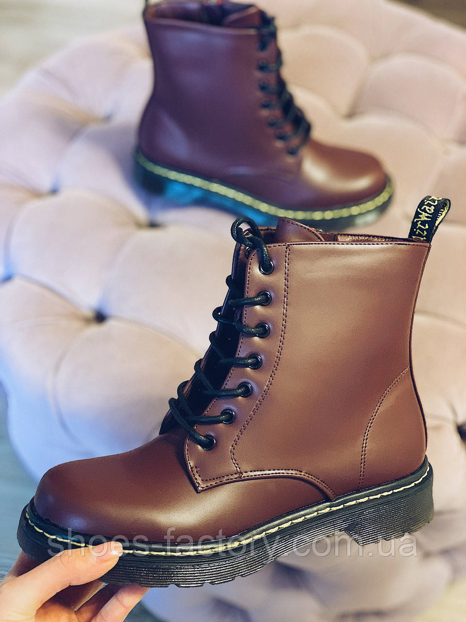 Осенние ботинки в стиле Dr. Martens Доктор Мартинс Бордовые