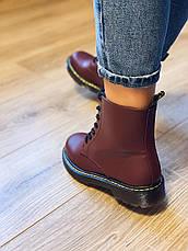 Осінні черевики в стилі Dr. Martens Доктор Мартінс Бордові, фото 2