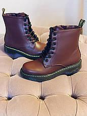 Осінні черевики в стилі Dr. Martens Доктор Мартінс Бордові, фото 3