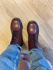Осенние ботинки в стиле Dr. Martens Доктор Мартинс Бордовые, фото 2