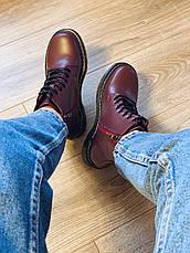Осенние ботинки в стиле Dr. Martens Доктор Мартинс Бордовые, фото 3