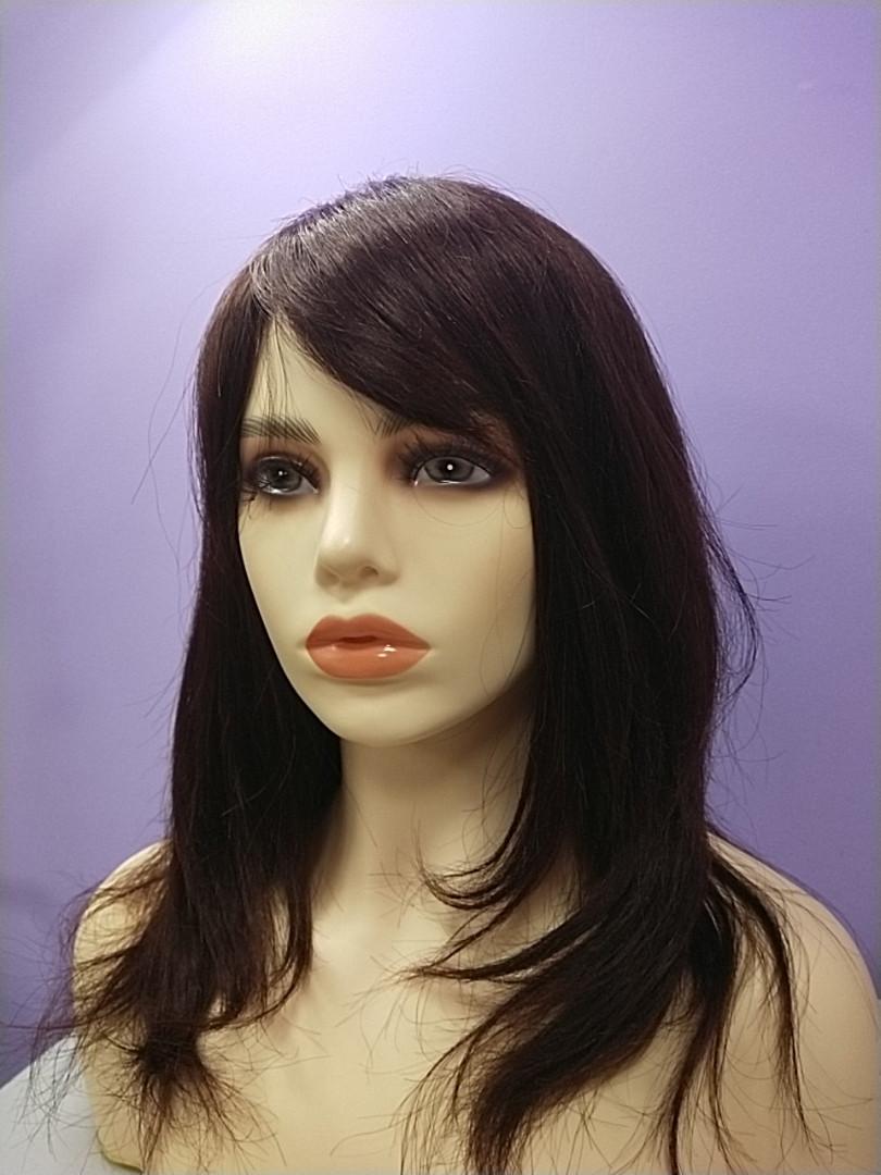 Натуральный парик светло коричневый имитация кожи длинные волосы с челкой моно сетка