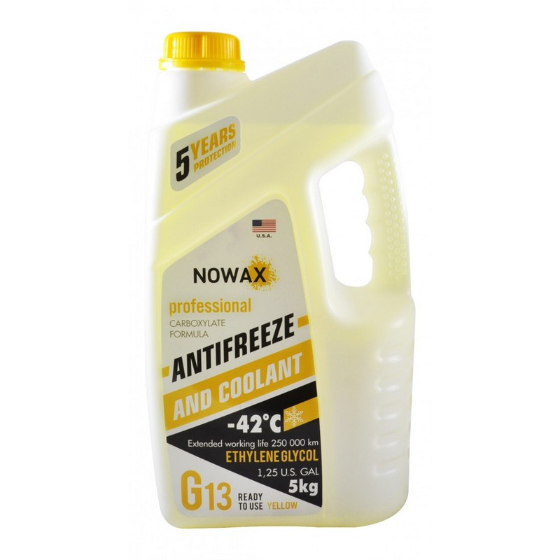 Антифриз NOWAX G13 -42°C желтый готовая жидкость 5 кг (NX05007)