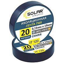 Изолента SOLAR IT120 синяя 20м